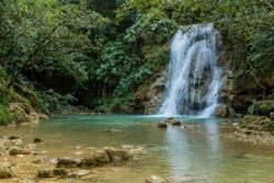 Small waterfall of El Limon cascade, Dominican Republic