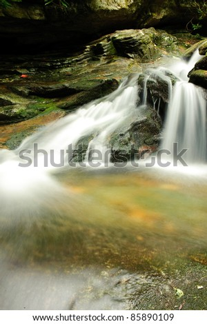 small waterfall with blurred water
