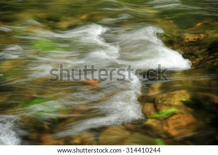 Small waves in the river Kamenice in Czech Switzerland #314410244