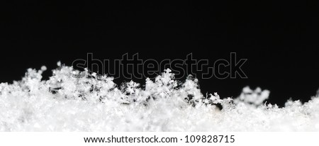 Small white background with black snow crystals in the black winter panorama #109828715