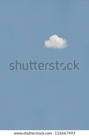 small white cloud on blue sky background,text box.