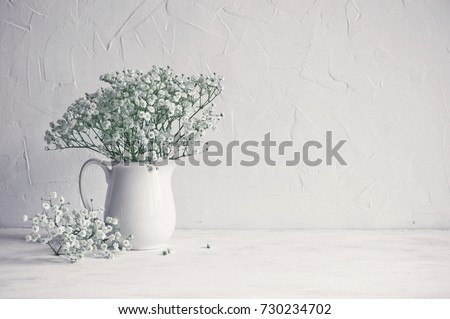 Small white flowers on a white background. Soft home decor. Gypsophila flowers. White flowers in a vase. Retro style. #730234702
