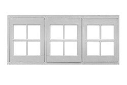 Small white wooden window frame isolated on a white background