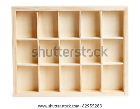 Small wooden box with cells isolated on a white background