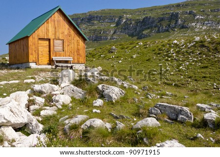 Small wooden cottage in durmitor national park, Montenegro.