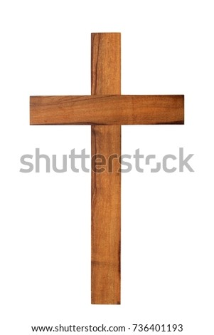 Small wooden cross isolated on white background #736401193
