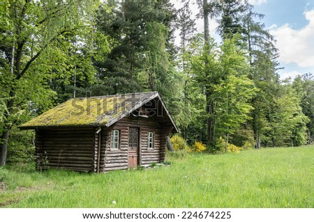 Small wooden house in the forest, Lorraine, France