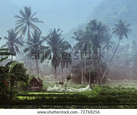 Small wooden house with fishing net in tropical forest near pond