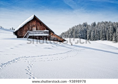 Small wooden hut in the austrian alps in wintertime