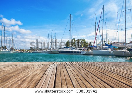 small wooden jetty in the background the port yacht #508501942
