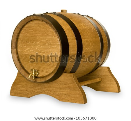 Small wooden oak wine barrel isolated