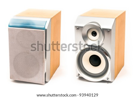 Small  wooden stereo speakers with tweeter and woofer