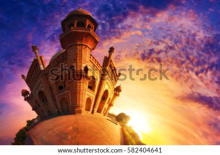 Small world photography of Mughal heritage monument Safdarjung Tomb, New Delhi at the sunset. Reminiscent of Agrabah from cartoon series, Aladdin.