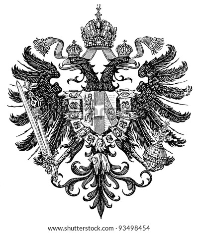 "Smaller coat of arms of the Empire of Austria form Congress of Vienna 1815-1867 (Austro-Hungarian Monarchy). Publication of the book ""Meyers Konversations-Lexikon"", Volume 7, Leipzig, Germany, 1910"