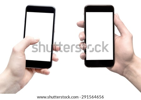smarphony in the hands of women, comparison - blank screens #291564656