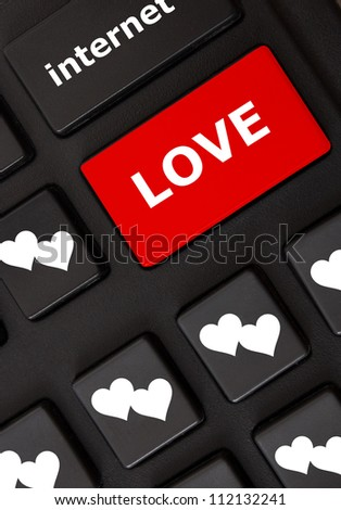 Smart black keyboard with color button and text Love