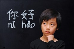 Smart boy in front of blackboard with Chinese words for