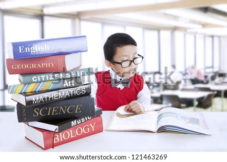 Smart boy with glasses study different literature in the library
