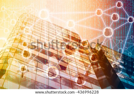 Smart Building and Internet of Things concept. Double exposure of office building and abstract digital connection background. #436996228