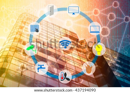 Smart Building and Internet of Things concept. Smart building management icons on Double exposure of office building and abstract digital connection background. #437194090