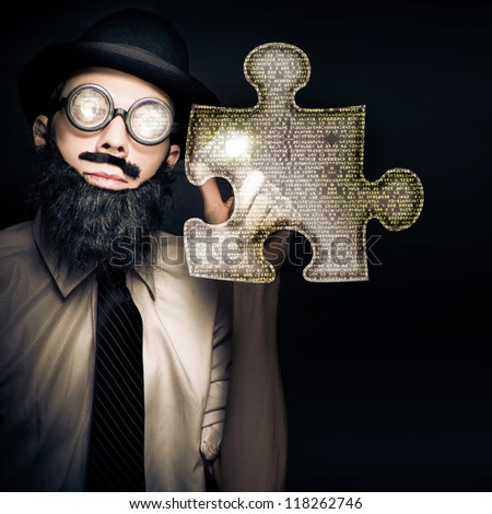 Smart Business Man Puzzle Solving When Pressing A Futuristic Touch Screen Jigsaw Interface In A Digital Answer Concept