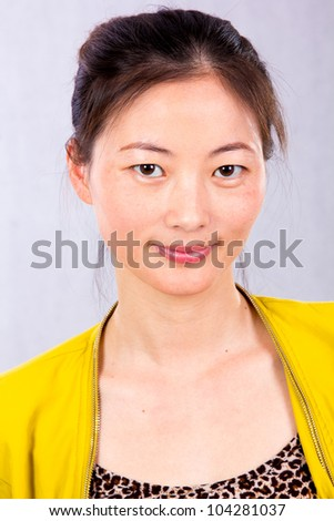 Smart business woman, closeup portrait on white background.