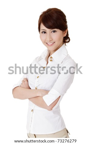 Smart business woman, closeup portrait on white background.