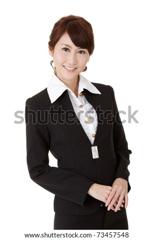 Smart business woman of Asian smiling, half length closeup portrait on white background.