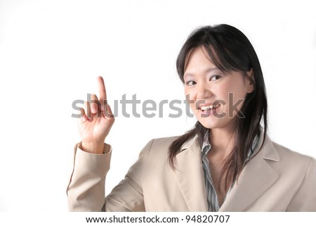Smart business woman shows her finger