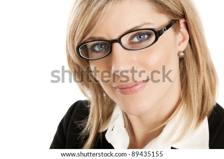 Smart business woman with glasses portrait isolated on white