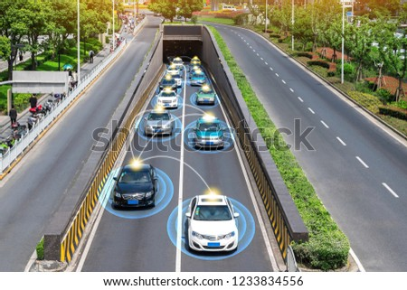 Smart car (HUD) , Autonomous self-driving mode vehicle on metro city road iot concept with graphic sensor radar signal system and internet sensor connect.