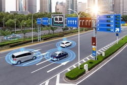 Smart car (HUD) , iot , Autonomous self-driving mode vehicle on metro city road iot concept with graphic sensor radar signal system and internet sensor connect.