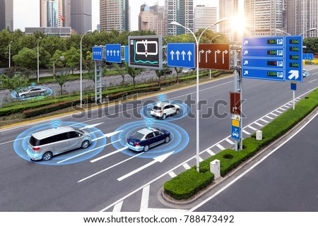 Smart car (HUD) , iot , Autonomous self-driving mode vehicle on metro city road iot concept with graphic sensor radar signal system and internet sensor connect.