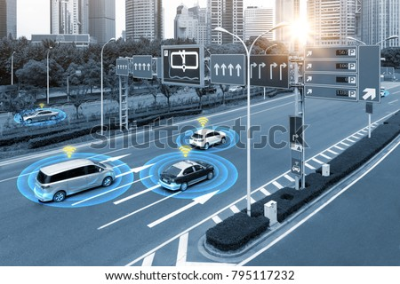 Smart car (HUD) , iot , Autonomous self-driving mode vehicle on metro city road iot concept with graphic sensor radar signal system and internet sensor connect. Blue tone image. #795117232