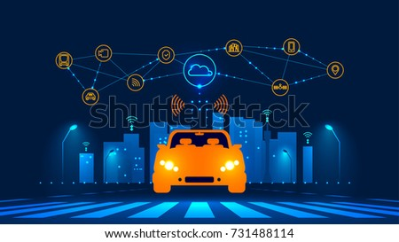 Smart car wireless network connection with smart city. Smart vehicle and automotive technology. Icons of city infrastructure. Taxi Future concept.  illustration.