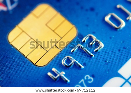Smart card macro , credit card chip - stock photo