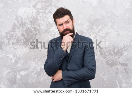 Smart casual clothes for office. Man of style and status. Guy brutal fashion model. Business people fashion style. Menswear and fashion concept. Man handsome bearded businessman wear formal suit. #1331671991