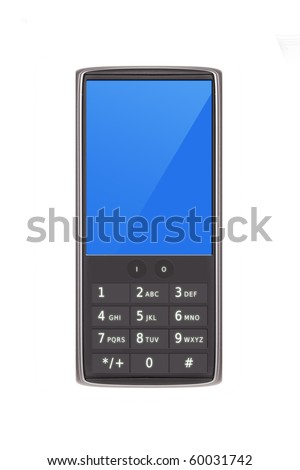 Smart cell phone with keypad  isolated on white (original design) - stock photo