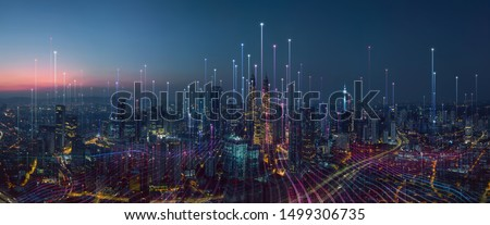 Photo of  Smart city and abstract dot point connect with gradient line and aesthetic Intricate wave line design , big data connection technology concept .