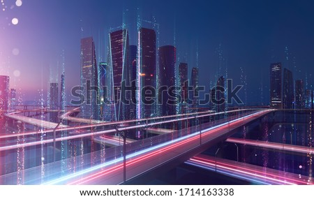 Photo of Smart city and abstract dot point connect with line design ,big data connection technology concept .Blur effect is applied.