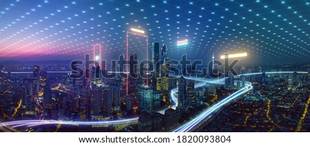 Photo of  Smart city and abstract polygon pattern connection with speed line light, big data connection technology concept .