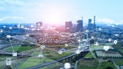 Smart city and communication network concept. 5G. IoT (Internet of Things). Telecommunication.