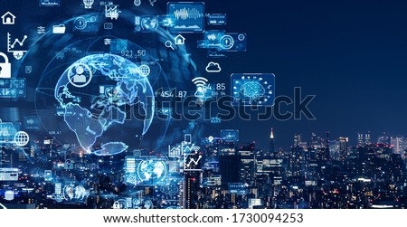 Smart city and communication network concept. 5G. IoT (Internet of Things). Telecommunication. ストックフォト ©
