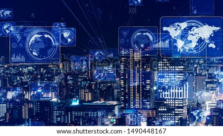 Smart city and communication network concept. 5G. LPWA (Low Power Wide Area). Wireless communication. #1490448167