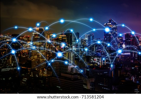 smart city and communication network concept. Internet of Things. Information Communication Network. abstract mixed media.