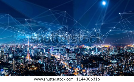 Smart city and communication network concept. IoT(Internet of Things). ICT(Information Communication Network). #1144306316