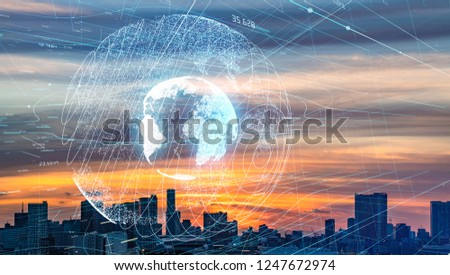 Smart city and global communication network concept.
