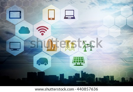 smart city and internet of things, renewable energy, environment concept image, smart grid, abstract background visual #440857636