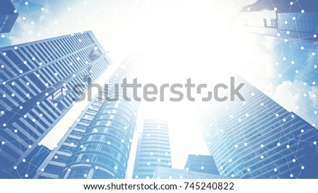 Smart city and internet with network - communication connection on city building background, technology concept. #745240822