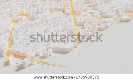 Smart city and Urban landscape. City Top View of  landscape Building. city model and city metropolis architectural landscape. 3D Render.